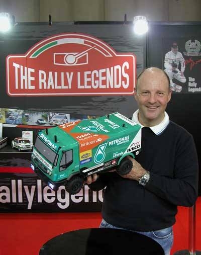 Miki Biasion at Model Expo 2012 in verona Italy with Iveco Trakker radio controlled model